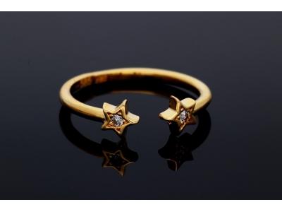 Bijuterii dama inel reglabil aur 14K  stelute
