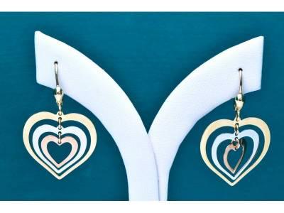 Bijuterii din aur 14k cercei cu pandant inimioare