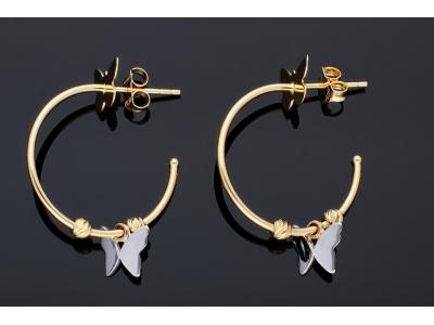 Bijuterii din aur - Cercei cu surub din aur 14K galben si alb fluturasi si bilute
