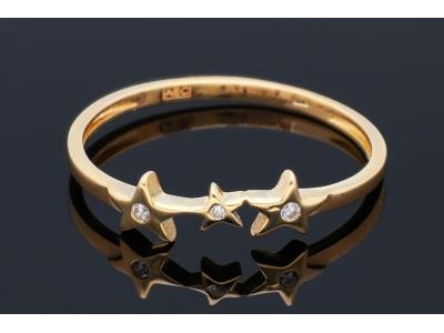 Bijuterii din aur - Inele dama din aur 14K galben stelute cu zirconii