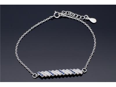 Bratara argint cu zirconii albastre
