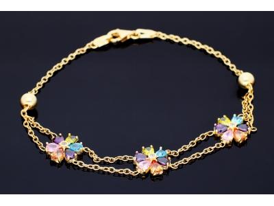 Bratara aur 14K floricele zirconia colorate