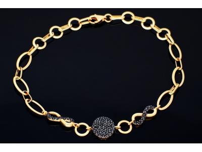 Bratara aur 14K infinity zirconia negre