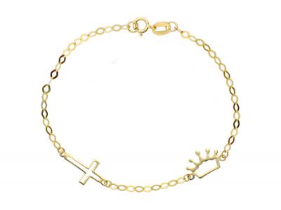 Bratara aur 14k pentru copii pandantiv cruciulita coronita