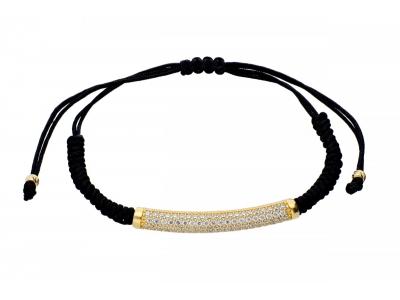 Bratara aur cu snur negru cristale zirconia