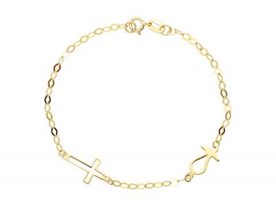 Bratara copii biberon si cruciulita bijuterii aur 14k