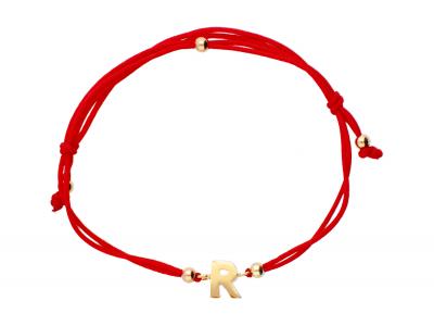 Bratara cu snur aur 14K initiala R