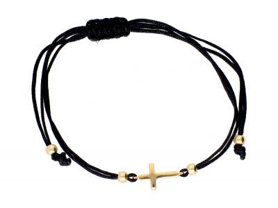 Bratara cu snur negru din aur 14K cruciulita