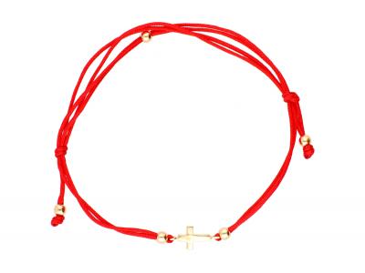 Bratara cu snur rosu aur 14K cruciulita