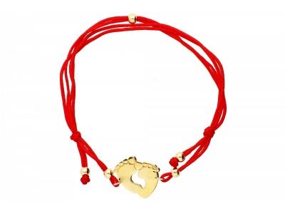 Bratara cu snur rosu pandant aur picioruse gravabila
