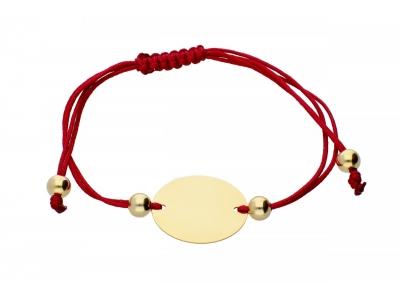 Bratara cu snur rosu pandantiv gravabil aur 14K