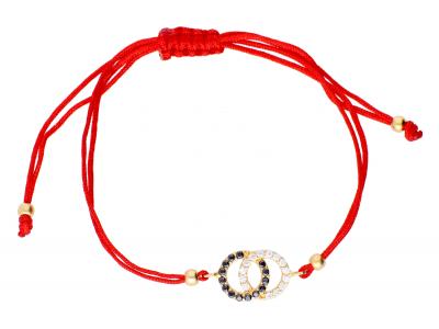 Bratara din aur 14K cu snur rosu Coco Chanel