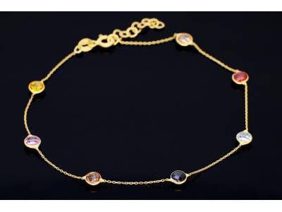 Bratara din aur 14K zirconii colorate
