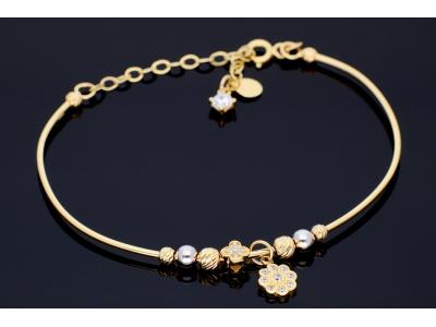 Bratara fixa aur 14K bijuterii dama charm floricica