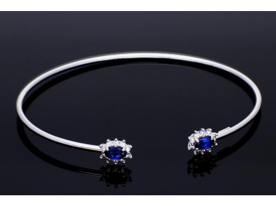 Bratara fixa aur 14k zirconii albastre