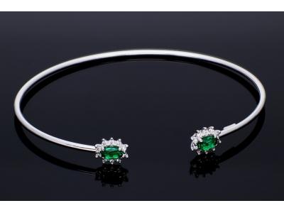 Bratara fixa aur 14k zirconii verzi bijuterii on line