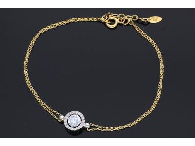 Bratara mobila bijuterii aur 14k pandantiv cristale zirconii