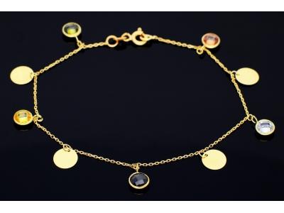 Bratari din aur 14K banuti zirconii colorate