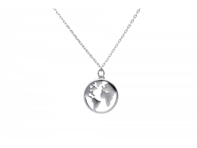 Cadou bijuterii argint lant cu pandant globul pamantesc