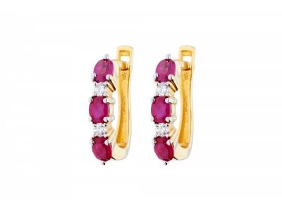 Cadouri bijuterii dama cercei aur  14k cu diamante si rubine