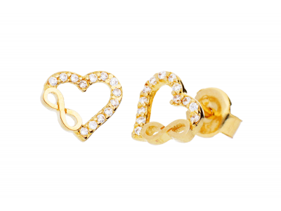 Cercei aur 14 k bijuterii dama inima
