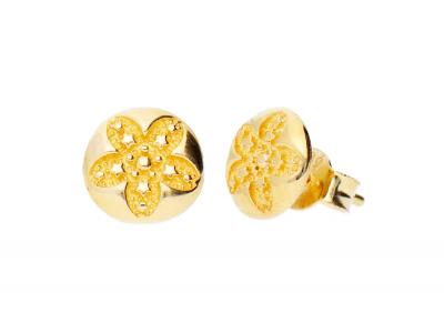 Bijuterii din aur - Cercei cu surub dama aur 14K galben floricica