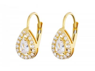 Cercei aur 14K bijuterii cu zirconii