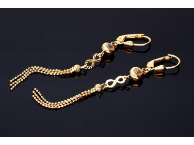 Cercei aur 14K bijuterii dama bilute cu lant infinit
