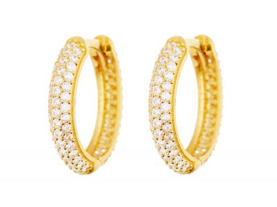 Cercei aur 14k bijuterii dama creole cu zirconia