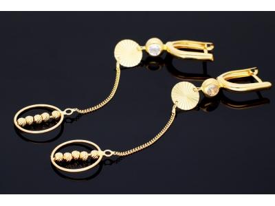 Cercei aur 14k bijuterii dama cu lant