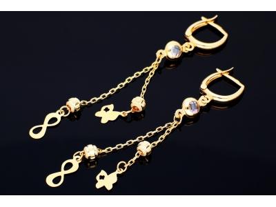 Cercei aur 14k bijuterii dama cu lant infinity