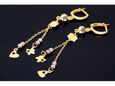 Cercei aur 14k bijuterii dama cu lant si pandantive inimioara fluturas