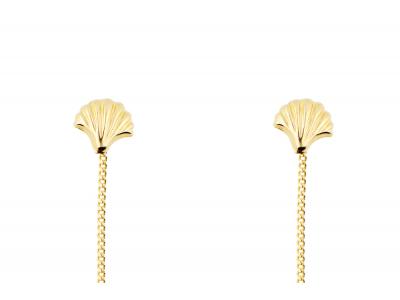 Cercei aur 14k bijuterii dama cu lant si scoica