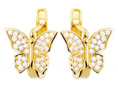 Cercei aur 14k bijuterii dama fluturasi zirconia