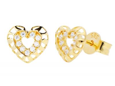 Cercei aur 14k bijuterii dama inimioara