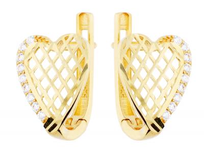 Cercei aur 14K bijuterii dama inimioara filigran