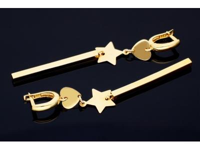 Cercei aur 14K bijuterii dama inimioara, steluta