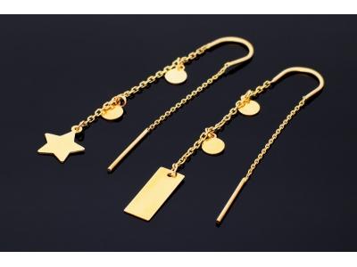 Cercei aur 14k bijuterii dama placuta stea gravabile