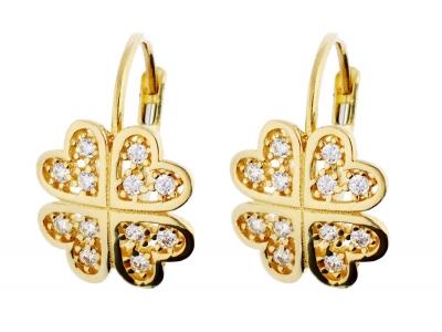 Cercei aur 14K bijuterii dama trifoi