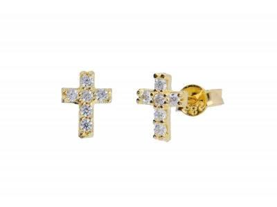 Cercei aur 14K cruciulita cu pietre