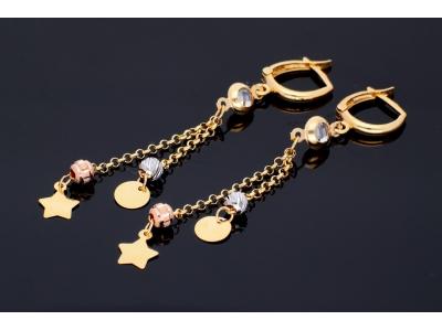 Cercei aur 14k cu pandante placute bijuterii dama
