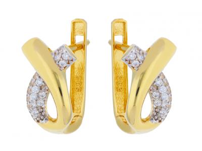 Cercei aur 14K galben si alb bijuterii dama