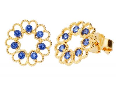Cercei aur 14k  inimioare  zirconii albastre
