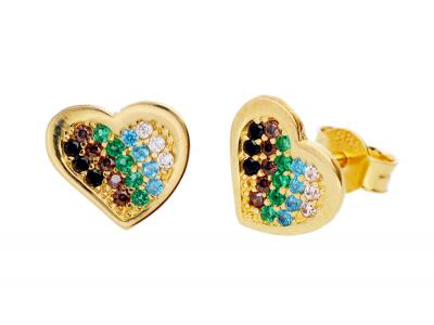 Cercei aur 14k inimioare zirconii colorate