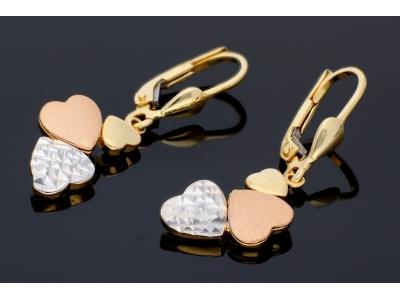 Cercei aur 14k pandant inimioare bijuterii dama