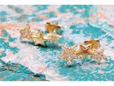 Cercei aur 14K stelute cu zirconia