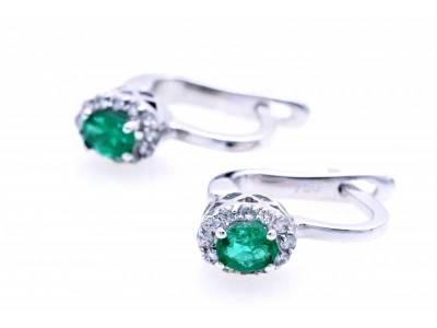 Cercei aur 18K cu diamante si smarald