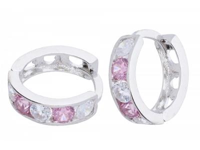 Cercei aur alb zirconii roz