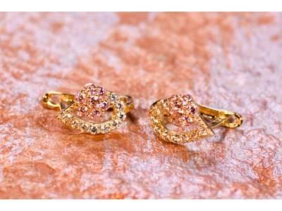 Cercei aur copii bijuterii 14K zirconia roz
