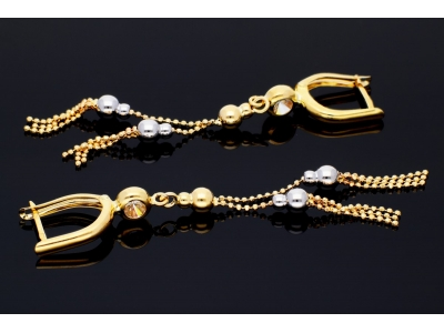 Cercei aur cu bilute bijuterii femei